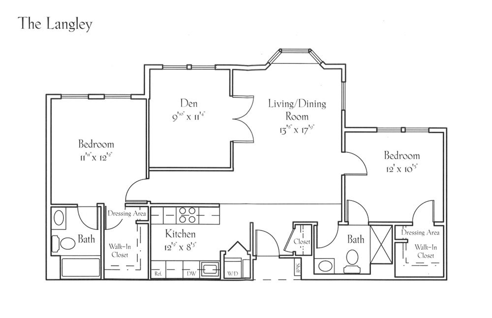 Sample Apartment Floor Plan - The Langley